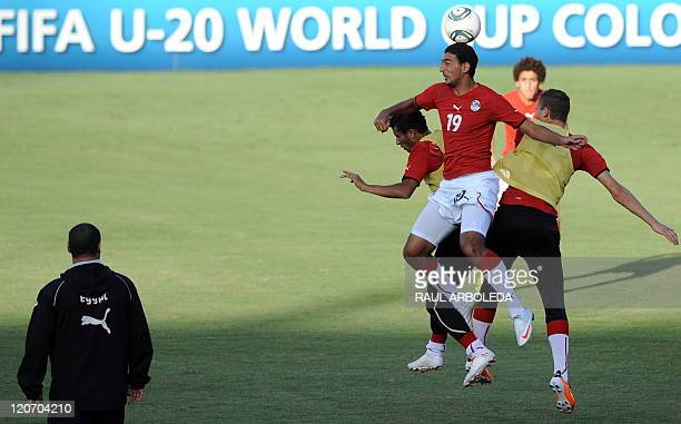 Egypt's U20 footballer Ahmed Hassan heads the ball during a training session at Atanasio Girardot stadium in Medellin Antioquia department Colombia...