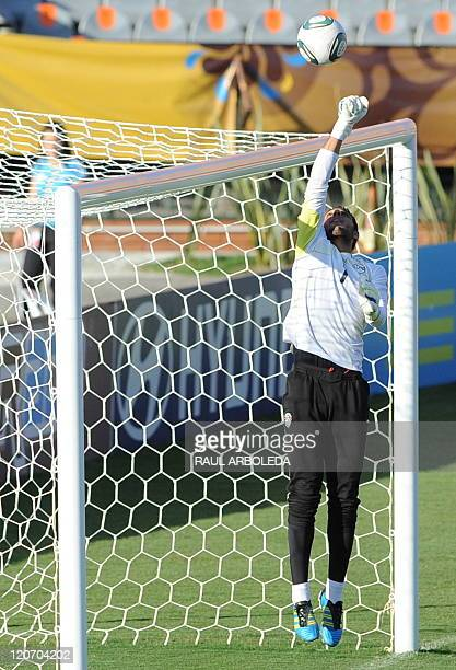 Egypt's U20 goalkeeper Ahmed Elshenawi stops a ball during a training session at Atanasio Girardot stadium in Medellin Antioquia department Colombia...