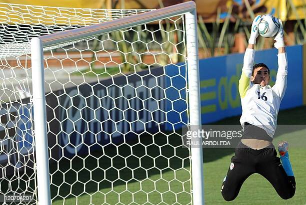 Egypt's U20 goalkeeper Mohamed Awwad stops a ball during a training session at Atanasio Girardot stadium in Medellin Antioquia department Colombia on...