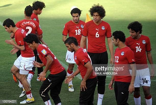 Egypt's U20 players take part in a training session at Atanasio Girardot stadium in Medellin Antioquia department Colombia on August 8 2011 Egypt...