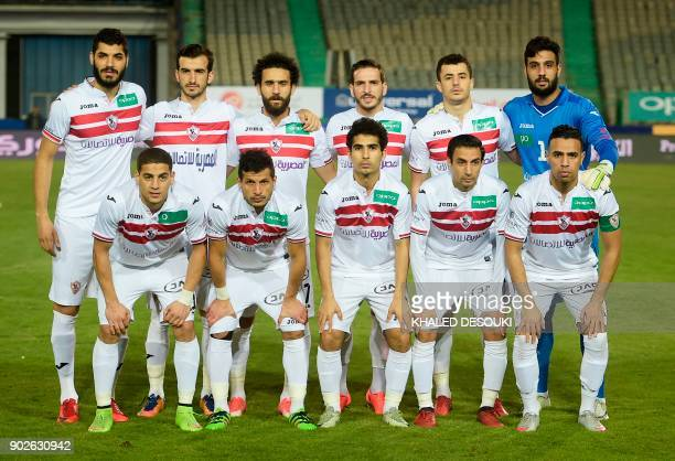 Egypts Zamalek club first eleven pose for a team photo prior to the Egyptian Premier League football match between AlAhly and Zamalek at the Cairo...