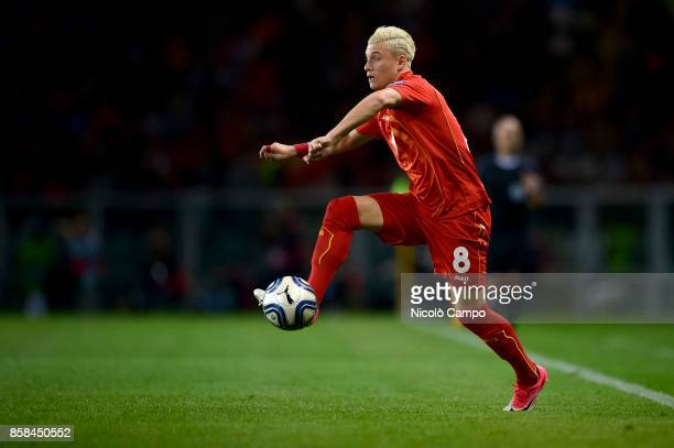 Egzijan Alioski of FYR Macedonia in action during the FIFA 2018 World Cup Qualifier between Italy and FYR Macedonia The match ended in a tie 11