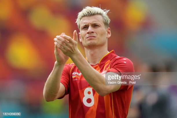 Egzijan Alioski of North Macedonia applauds the fans following defeat in the UEFA Euro 2020 Championship Group C match between Ukraine and North...