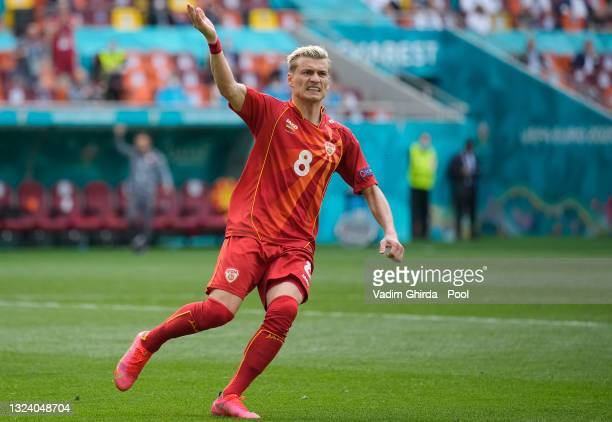 Egzijan Alioski of North Macedonia celebrates after scoring their side's first goal during the UEFA Euro 2020 Championship Group C match between...