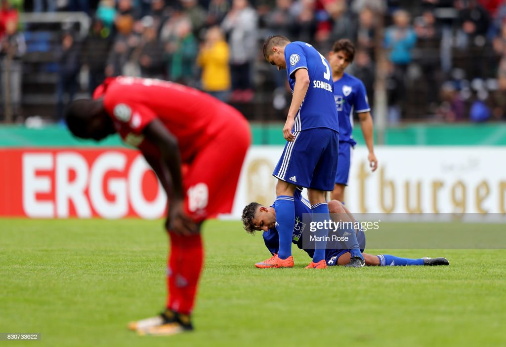 Egzon Sula (C) of Leher TS reacts during the DFB Cup first round match between Leher TS and 1. FC Koeln at Nordseestadion on August 12, 2017 in Bremerhaven, Germany.