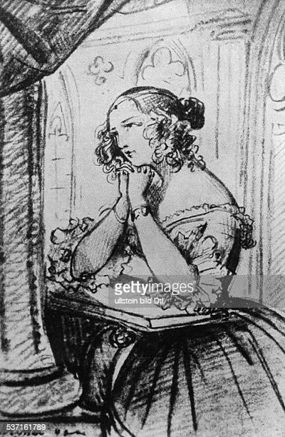 Ehefrau von Schriftsteller Adalbert Stifter Portrat nach einer Zeichnung von Ferdinand von Lampi 1837