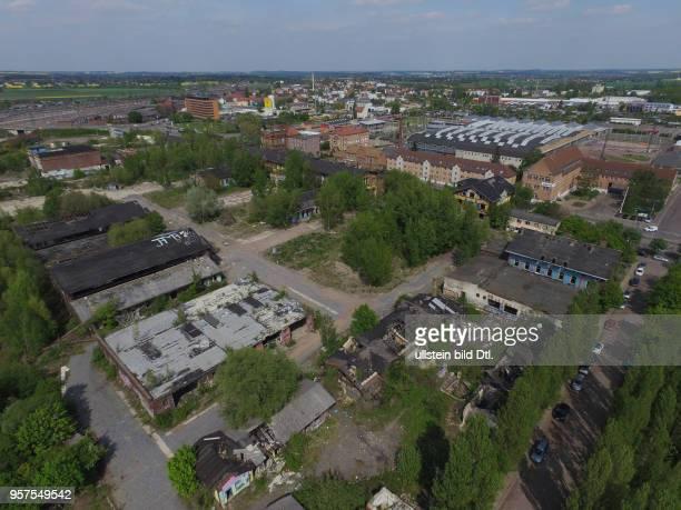 ehemaliger Schlachthof Halle Saale Ansicht der Schlachthof Halle als open free Galerie Luftaufnahme Drohnenaufnahme Drohnenbild Stadtansicht Ansicht...
