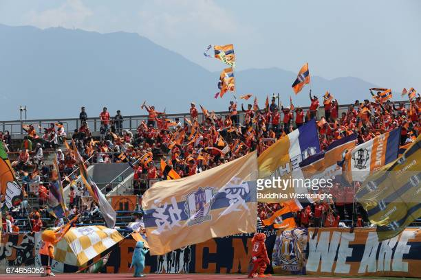 Ehime FC supporters cheer prior to the JLeague J2 match between Ehime FC and Montedio Yamagata at Nigineer Stadium on April 29 2017 in Matsuyama...