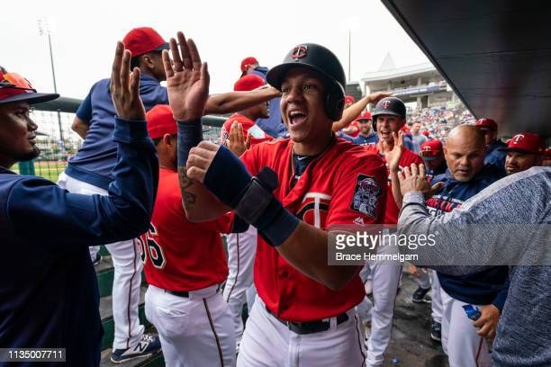 Ehire Adrianza of the Minnesota Twins celebrates with teammates during a spring training game against the Tampa Bay Rays on March 5 2019 at Hammond...