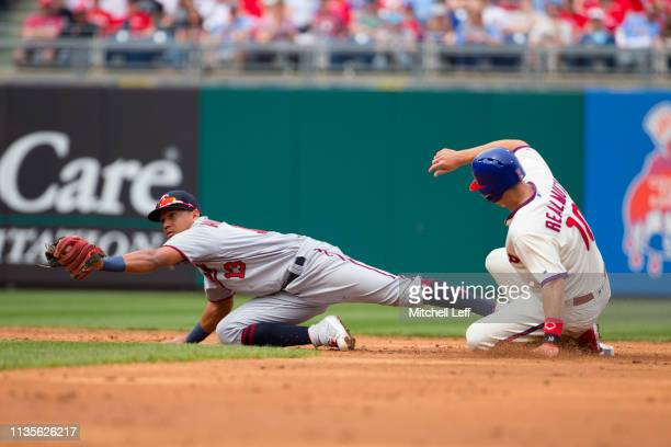 Ehire Adrianza of the Minnesota Twins forces out JT Realmuto of the Philadelphia Phillies in the bottom of the second inning at Citizens Bank Park on...
