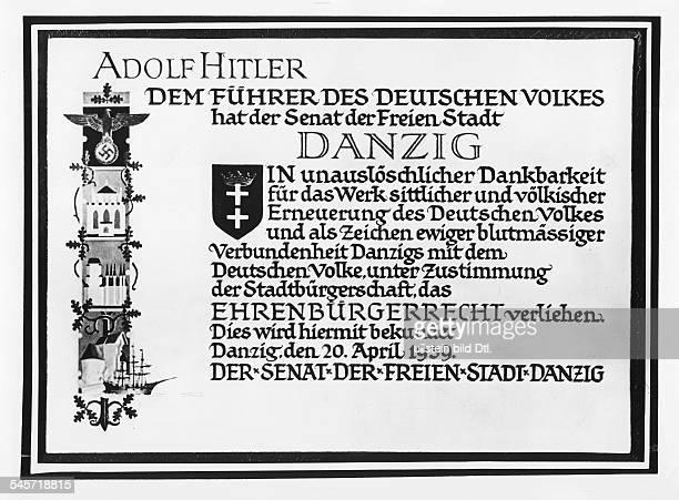Ehrenbürgerbrief der Stadt Danzig für Adolf Hitler