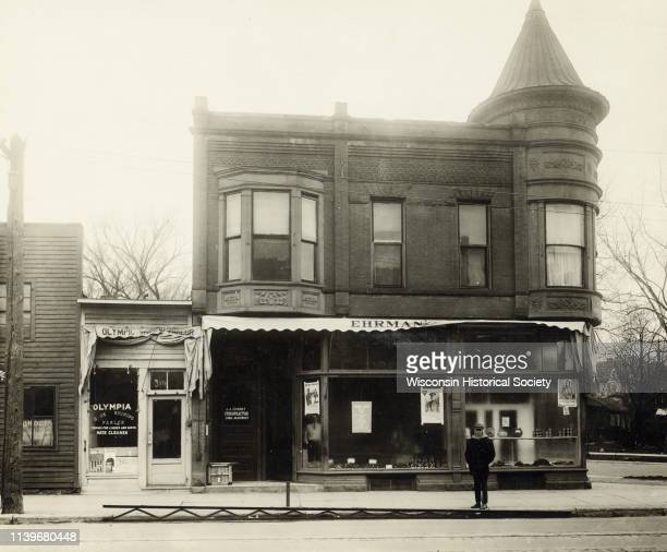 Ehrman's Delicatessen, located at 300 State Street, on the corner of State and Henry Streets, Madison, Wisconsin, 1918.