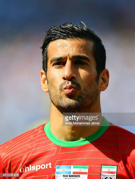 Ehsan Haj Safi looks on during the 2014 FIFA World Cup Brazil Group F match between Argentina and Iran at Estadio Mineirao on June 21 2014 in Belo...