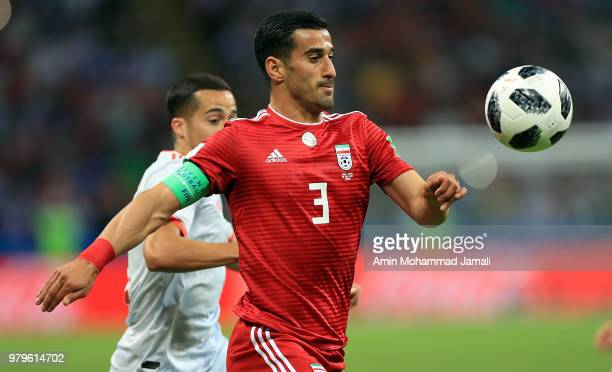 Ehsan Haj Safi of Iran In action during the 2018 FIFA World Cup Russia group B match between Iran and Spain at Kazan Arena on June 20 2018 in Kazan...