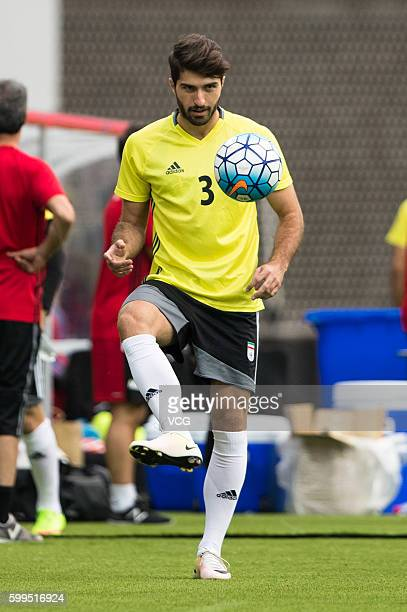 Ehsan Haji Safi of Iran attends a training session ahead of the 2018 Russia World Cup Asia Qualifiers match between China and Iran at Shenyang...