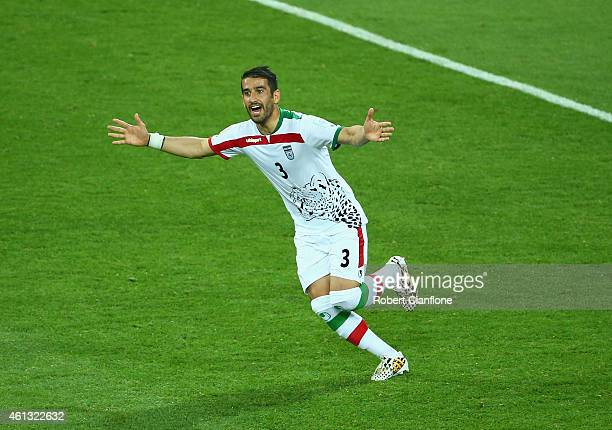 Ehsan Haji Safi of Iran celebrates after he scored the opening goal during the 2015 Asian Cup match between IR Iran and Bahrain at AAMI Park on...