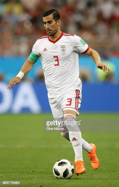Ehsan Haji Safi of Iran in action during the 2018 FIFA World Cup Russia group B match between Iran and Portugal at Mordovia Arena on June 25 2018 in...