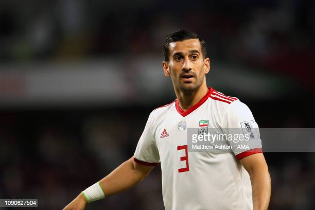 Ehsan Haji Safi of Iran in action during the AFC Asian Cup semi final match between Iran and Japan at Hazza Bin Zayed Stadium on January 28 2019 in...