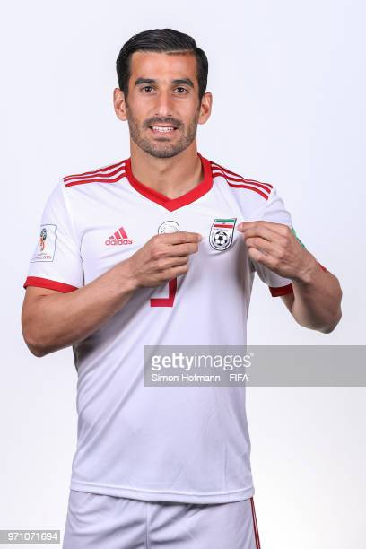 Ehsan Haji Safi of Iran poses during the official FIFA World Cup 2018 portrait session at Bakovka Training Base on June 9 2018 in Moscow Russia