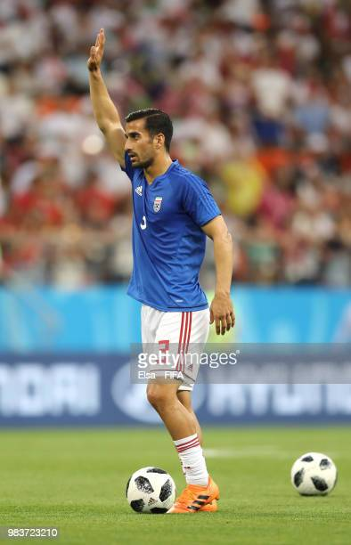 Ehsan Haji Safi of Iran warms up prior to the 2018 FIFA World Cup Russia group B match between Iran and Portugal at Mordovia Arena on June 25 2018 in...