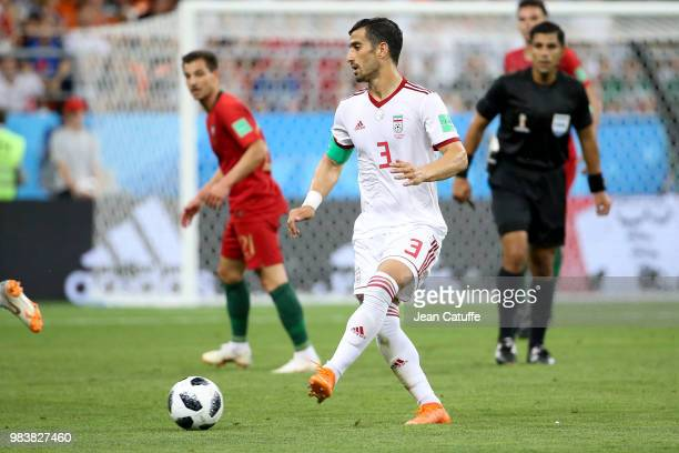 Ehsan Hajsafi of Iran during the 2018 FIFA World Cup Russia group B match between Iran and Portugal at Mordovia Arena on June 25 2018 in Saransk...