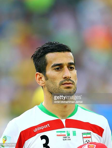 Ehsan Hajsafi of Iran in action during the 2014 FIFA World Cup Brazil Group F match between Iran and Nigeria at Arena da Baixada on June 16 2014 in...