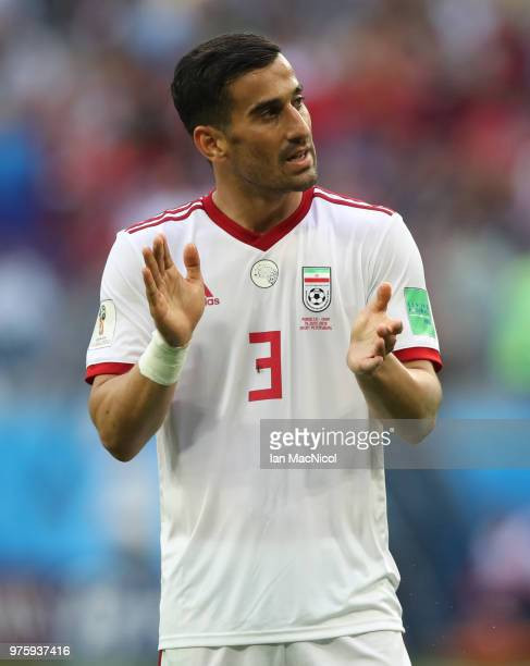 Ehsan Hajsafi of Iran is seen during the 2018 FIFA World Cup Russia group B match between Morocco and Iran at Saint Petersburg Stadium on June 15...