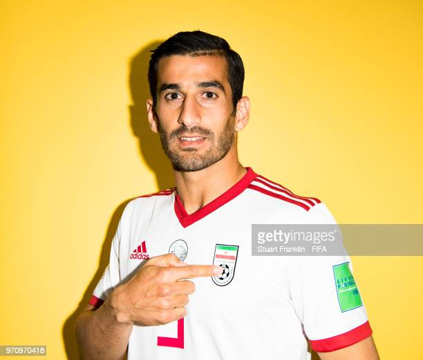 Ehsan Hajsafi of Iran poses for a picture during the official FIFA World Cup 2018 portrait session at on June 9 2018 in Moscow Russia