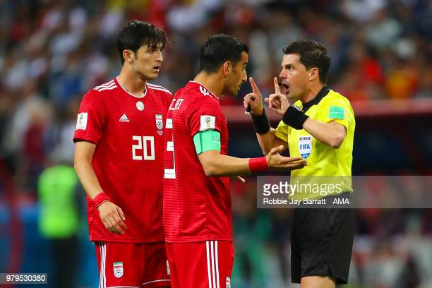 Ehsan Jaji Safi of IR Iran argues with Referee Andres Cunha during the 2018 FIFA World Cup Russia group B match between Iran and Spain at Kazan Arena...