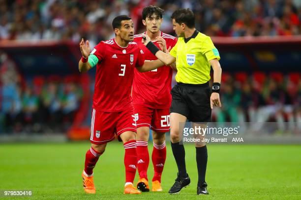 Ehsan Jaji Safi of IR Iran argues with Referee Andres Cunha during the 2018 FIFA World Cup Russia group B match between Iran and Spain at Kazan Arena...
