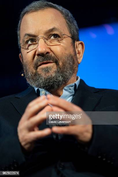 Ehud Barak former Prime Minister of Israel at the Hay Festival on May 27 2018 in HayonWye Wales
