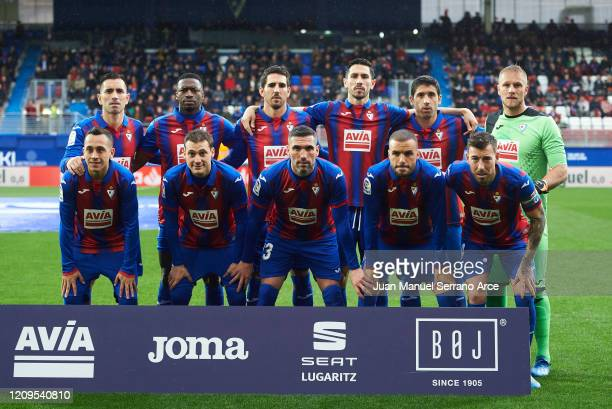 Eibar line up for a team photo prior to the Liga match between SD Eibar SAD and Levante UD at Ipurua Municipal Stadium on February 29, 2020 in Eibar,...