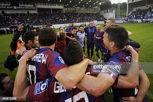 SD Eibar's players celebrate after the match Eibar vs Lugo at the Ipurua stadium in Eibar on May 31 2014 AFP PHOTO/ RAFA RIVAS
