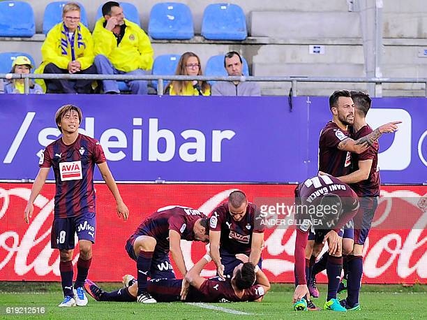 Eibar's players celebrate their second goal during the Spanish league football match between SD Eibar and Villarreal CF at the Ipurua stadium in...
