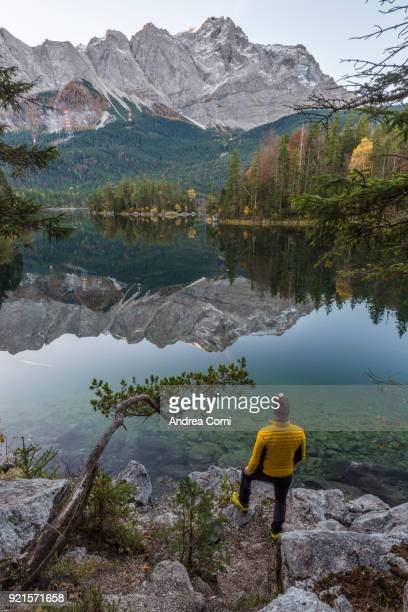 eibsee lake, garmisch-partenkirchen, bavaria, germany. - reflection lake stock photos and pictures