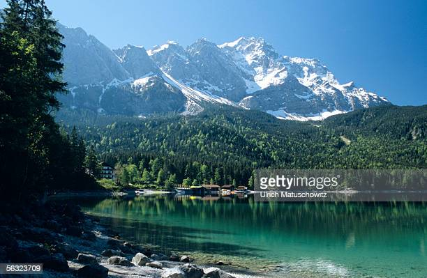 View Eibsee with Zugspitze in the background, Bavaria, Germany