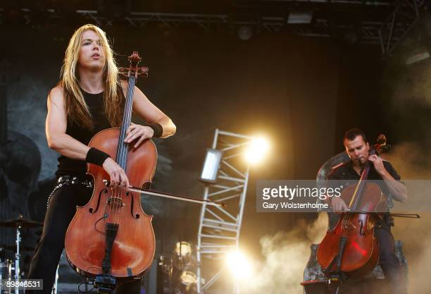 Eicca Toppinen and Paavo Lotjonen of Apocalyptica performs on stage on the second day of Bloodstock Open Air festival at Catton Hall on August 15...