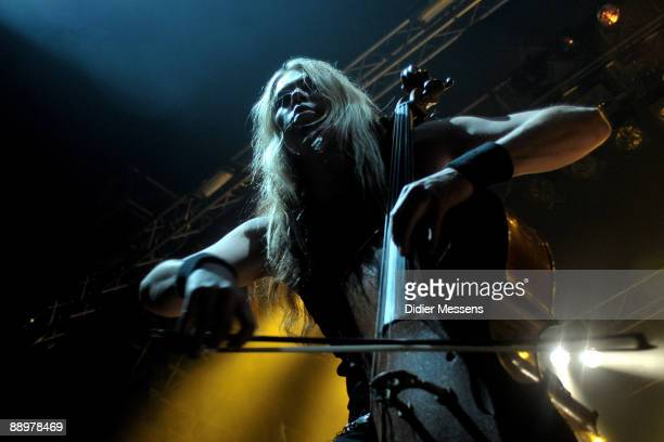 Eicca Toppinen of Apocalyptica performs on stage on the first day of Rock Zottegem on July 10 2009 in Zottegem Belgium