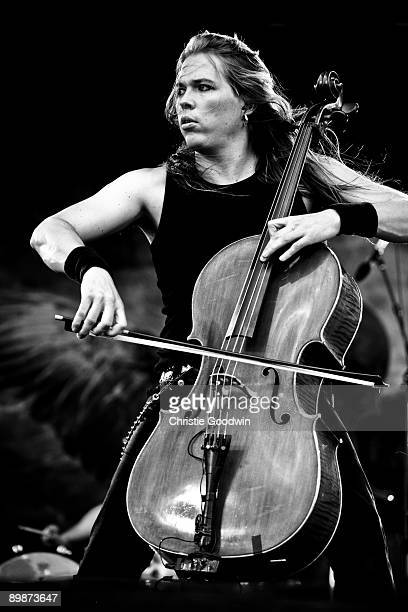 Eicca Toppinen of Apocalyptica performs on stage on the second day of Bloodstock Open Air festival at Catton Hall on August 15 2009 in Derby England