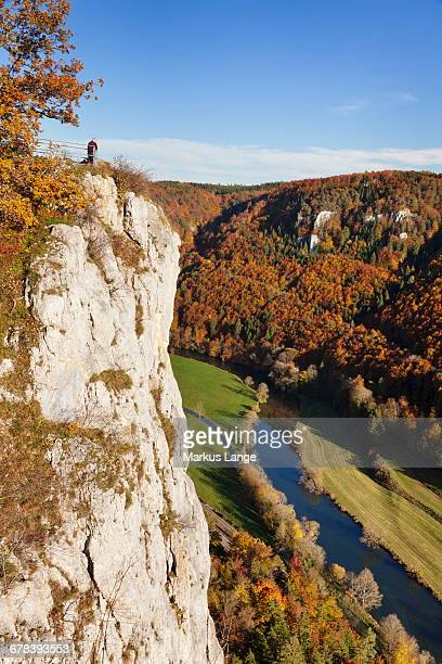 Eichfelsen Rock and Danube Valley in autumn, Upper Danube Nature Park, Swabian Alb, Baden Wurttemberg, Germany, Europe
