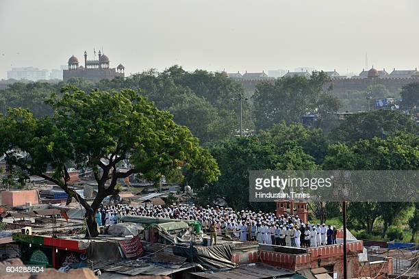Eid alAdha namaz being offered at Jama Masjid on September 13 2016 in New Delhi India Muslims across the world are preparing to celebrate the annual...