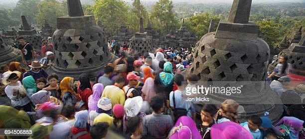 Eid al-Fitr holiday crowds at Borobudur Temple.