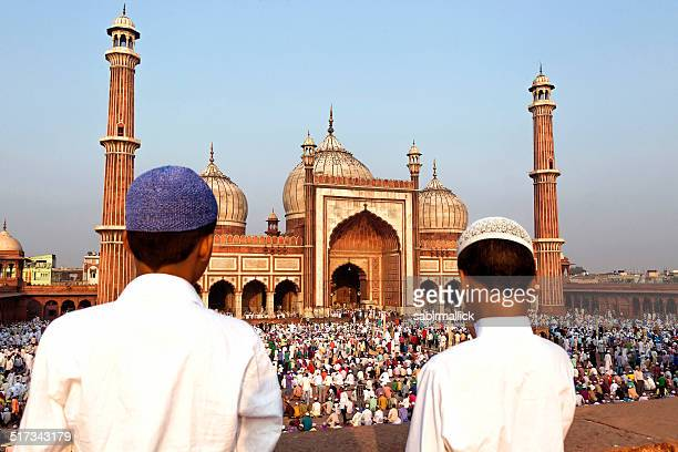 eid at jama masjid, old delhi, india - old delhi stock pictures, royalty-free photos & images