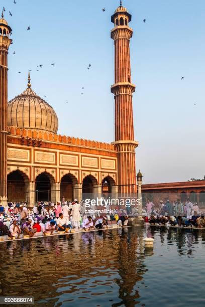 Eidgebet bei Jama Masjid, Alt-Delhi, Indien.