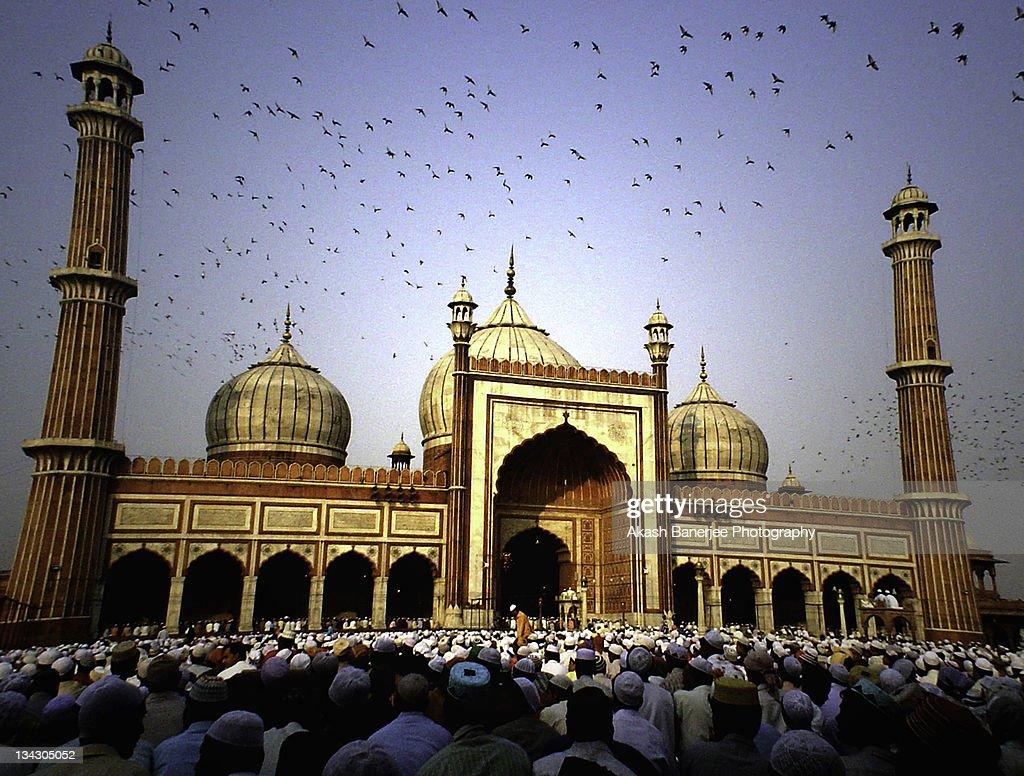 Eid prayers marking end of Ramadan, India : Stock Photo
