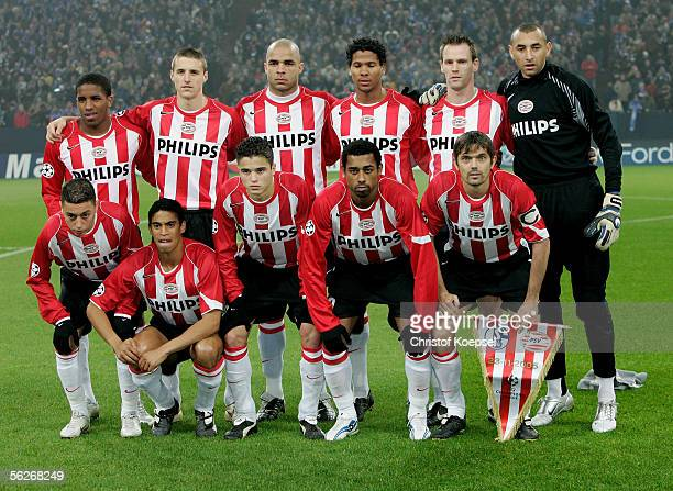 Eidnhoven team pose before the UEFA Champions League Group E match between Schalke 04 and PSV Eindhoven at the Arena Auf Schalke on November 23 2005...