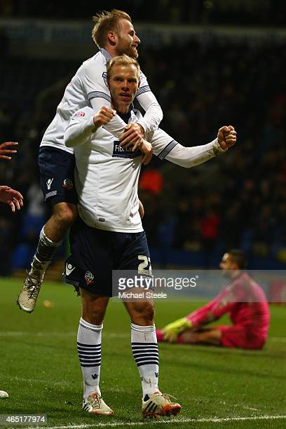 Eidur Gudjohnsen of Bolton celebrates with Barry Bannan after scoring the opening goal during the Sky Bet Championship match between Bolton Wanderers...