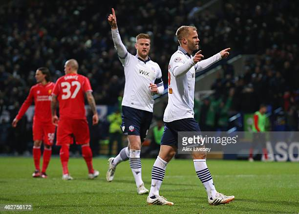 Eidur Gudjohnsen of Bolton Wanderers celebrates scoring the opening goal from the penalty spot with Matt Mills of Bolton Wanderers during the FA Cup...