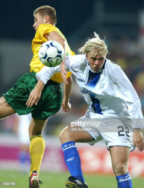 Eidur Gudjohnsen of Chelsea FC London who scored the first goal fights for the ball with Martin Durica of MSK Zilina during the 3rd preliminary round...