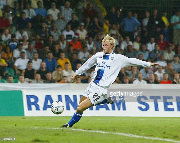 Eidur Gudjohnsen of Chelsea scores during the Champion's League qualifying match between MSK Zilina and Chelsea at the Mestsky Stadion on August 13,...
